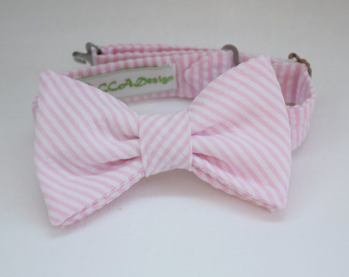 Boy's pre-tied Bow Tie in pale pink seersucker, matching father/son bow ties, custom boy's bow tie, pink wedding accessory, toddler bow tie