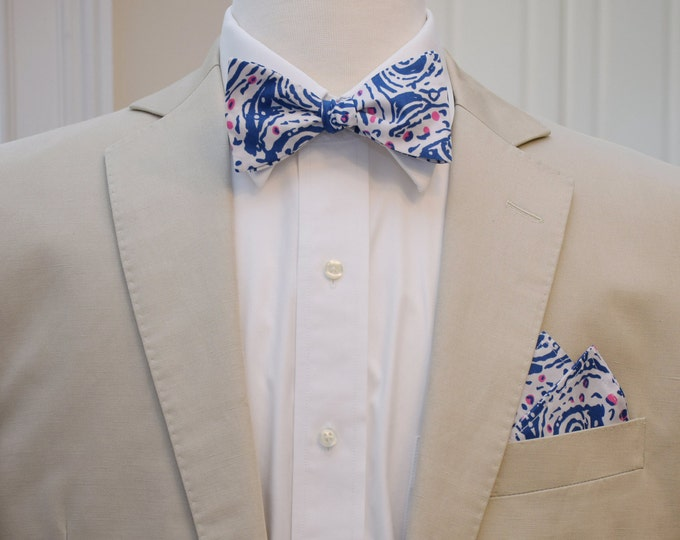 Man's Pocket Square & Bow Tie, Lilly navy, white Star Crush, wedding party wear, groomsmen gift, groom bow tie set, men's gift set,