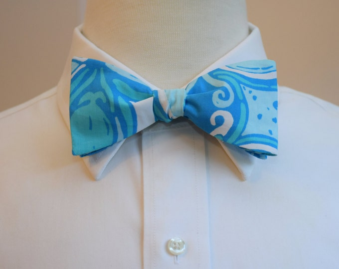 Men's Bow Tie, What a Raquet Lilly print, pool blue bow tie, wedding bow tie, groom/groomsmen bow tie, blue/aqua/white bow tie, Derby bowtie