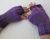 Shades of Purple Knit Fingerless Gloves