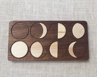 Moon Phases Puzzle Solid Hardwood Waldorf Montessori Toy