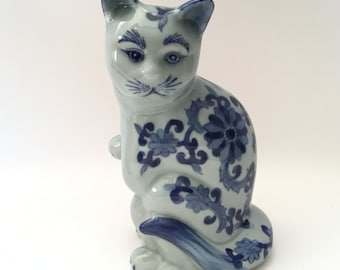 Porcelain Chinese Cat Statue Figure Hand-Painted