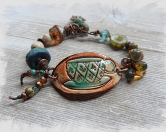 Coral Orange Aqua Blue Spring Green Tea Cup Bracelet Bright Fun Bracelet Ceramic Beaded Bracelet Pottery bead Bracelet