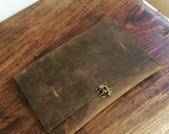 Handcrafted iPad Case Brown Leather iPad Cover Easy iPad Air Sleeve Pouch Handmade Tablet Cover Custom Size Options