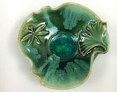 Dragonfly and Ginkgo Leaf Pottery and Fused Glass Trinket or Jewelry Bowl