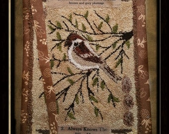 Sparrow Garden Journal-  Punch Needle Pattern- Instant Download