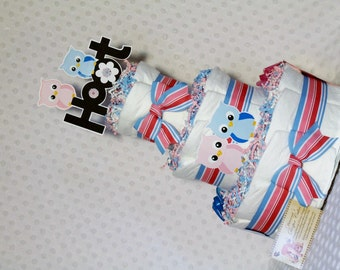 Owls Baby Diaper Cake Twins Shower Gift or Centerpiece
