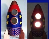Boys Nightlight - Table Lamp Rocket ship Ultra  Blue and Red