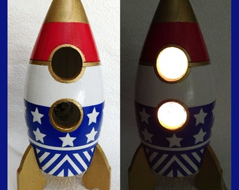 Boys Rocket Ship Nightlight, Table Lamp,  red, white, blue, Boys Room, Lighting, Decorative, Unique Gift
