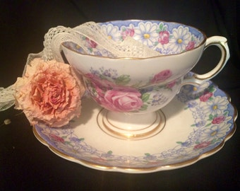 Daisy Tea Cup And Saucer by Rosina with Pink Roses - Blue - England - Wedding Table Setting - Teacup