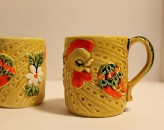 Vintage Lefton Ceramic Chicken Rooster Cups or Mugs