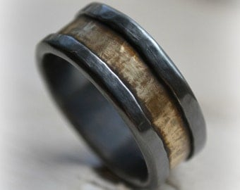 rustic fine silver and brass ring - handmade oxidized and hammered artisan designed wedding band - customized ring - custom hand stamping