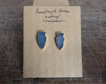 Amethyst arrow head earrings