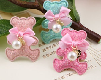 6 pcs x Cute Bears with Ribbon Bows and pearls Applique,Hair Bow Supplies, Hair clips embellishment, 3 color choices