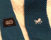 Vintage Teal Blue KNIT TIE Skinny White Embroidered Horse Square Bottom 100% Wool