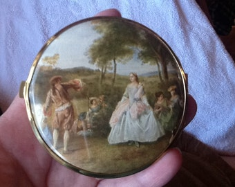 Vintage Compact West Germany Western Germany Gold Mirror Lady and Gentleman Trees