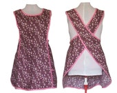 Plus size Apron, Crossback No Tie Apron - Dusty Maroon and Pink calico - Sizes XL, 2XL, 3XL, 4XL