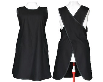 Plus size Apron, Cross back Apron, Black apron - Permanent Press  Black 7 oz Twill - Custom Made by Size XL to 5X