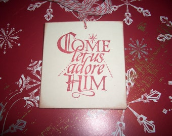 Come Let Us Adore Him Christmas Tags - Set of Six