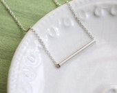 SALE, Sterling Silver Tube Necklace,Tiny Tube Necklace, Silver Bar Necklace,Minimalist Necklace,Everyday Jewelry, Celebrity Inspired Jewelry
