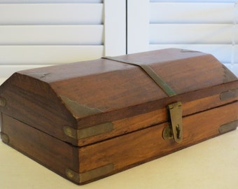 vintage Wood Trunk with Brass Strappings in Miniature