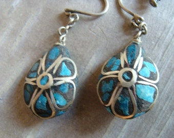 Antique Primitive Silver inlaid Turquoise stone drop earrings