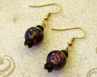 Purple and Black Earrings Pierced Dangle Handmade