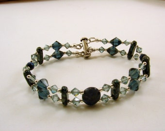 Sodalite, Swarovski Crystal and Beaded Bracelet, Gemstone Bracelet