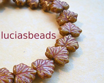 NEW  Czech Glass Maple Leaf  Beads in Shades of Caramel  (12)
