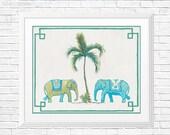Palm Tree Print, Chinoiserie Elephant Print, Tropical Wall Art, Elephants Painting, Green Jungle Print, Fern, Tropical Leaf Wall Decor