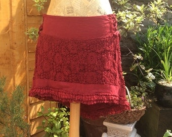 Crochet Lace Psy Pixie High-Low Skirt, Cherry Red, Pixie Skirt