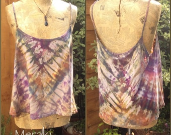 Tie Dye Camisole Summer Vest Top, Spaghetti Strap, Large