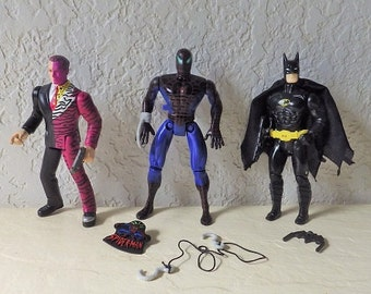 Batman, Spiderman and Two Face Action Figures