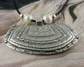 Bohemian Style Leather Necklace with Beautiful Large Tribal Carved Pendant - Antique Silver