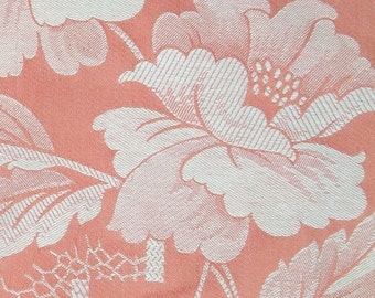 Vintage French Damask Linen woven peach Chinoiserie fabric textile material