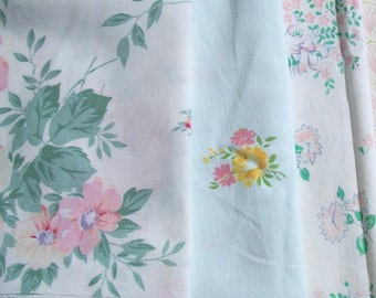 Bundle of Vintage French Fabric Pastel Flowers 1940 s Soft Floral material Cotton