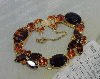 JULIANA Amber Topaz Striped Rhinestone 5 Link Bracelet