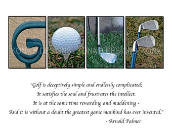 Gift for Dad - Father's day gift -  GOLF gift -  Photo Alphabet Print with Arnold Palmer Quote - 8x10 or 11x14