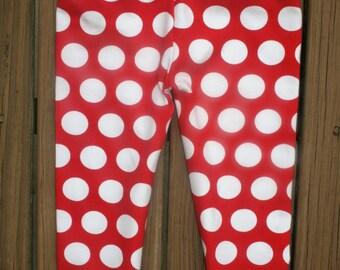Red White Polka Dots    Knit Leggings Red   Leggings Baby  Girls Leggings  Red White Girls  Knit Leggings