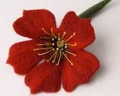 Red flower brooch hand felted corsage felt flower