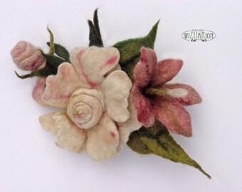 Pink bunch of flower brooch hand felted corsage felt flower