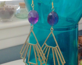 Art Deco Amethyst dangling dame energy healing earrings