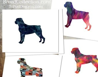 Rottweiler - Dog  Silhouette Note Card Collection -  Digital Download Printable