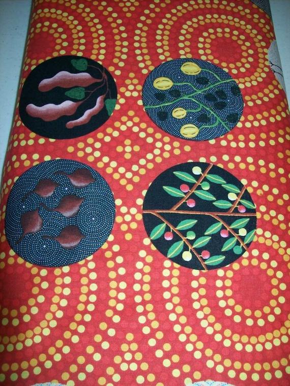 Per Yard Aboriginal Fabric 100 Cotton Orange Bush Tucker
