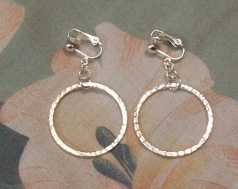 Clip on or Pierced Large Hammered Silver Circle Hoop Earrings