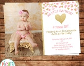 Little Sweetheart First Birthday Invitation- Pink and Gold Hearts- Photo First Birthday Invitation