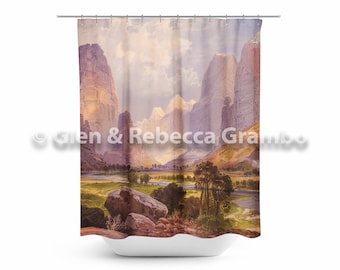Shower Curtain, Moran Valley of the Bubbling Waters, Bathroom Decor, Lodge Style, Cabin Decor, Watercolor Bathroom Art