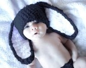 3 to 6m Baby Hat, Baby Bunny Hat, Black White Bunny Rabbit Hat, Flopsy Bunny Ears, Crochet Bunny Beanie, Photograpy Prop, Easter Gifts