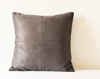 Dark Grey Suede Pillow with Stitch Detail , Grey Decorative Pillow , Grey Faux Suede Leather Throw Pillow , Grey Suede Cushion Cover , Decor