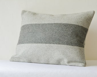Grey Patchwork Colour Blocked Felt Cushion Cover , Grey Felt Decorative Pillow , Grey Felt Cushion Cover , Accent Throw Pillow